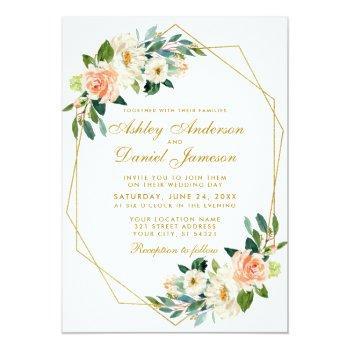 modern floral coral gold geometric frame wedding invitation