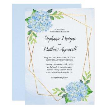 modern floral geometric blue hydrangea wedding invitation