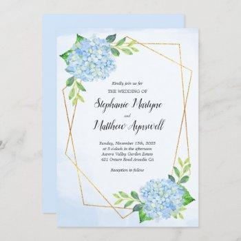 modern geometric blue hydrangea wedding invitation