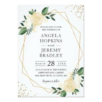 Small Modern Geometric Frame Nature Green Floral Wedding Invitation Front View