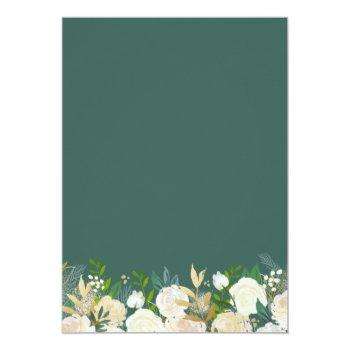 Small Modern Geometric Frame Nature Green Floral Wedding Invitation Back View