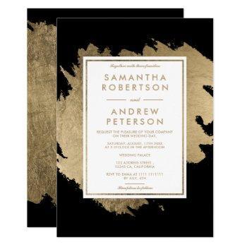 modern gold brushstrokes black white chic wedding invitation