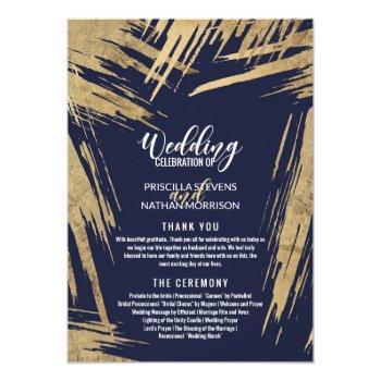 modern gold brushstrokes navy blue wedding program