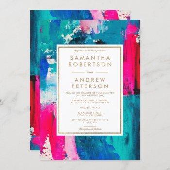 modern gold frame neon pink navy blue wedding invitation