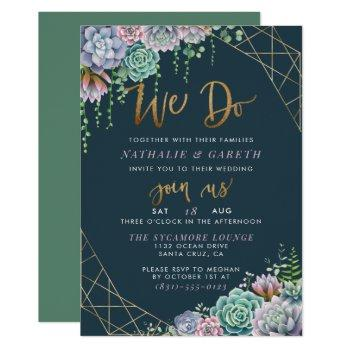 modern gold glitter script & succulents wedding invitation