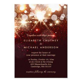modern gold glitter sparkles elegant wedding invitation