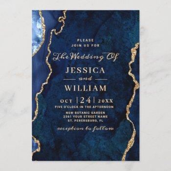 modern gold navy blue marble agate wedding invitation