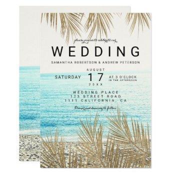 modern gold palm tree elegant beach photo wedding invitation