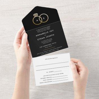 modern gold rings black and white wedding all in one invitation