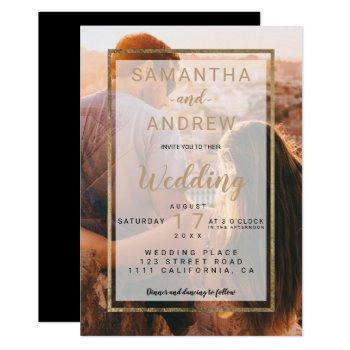 modern gold simple monogram photo script wedding invitation