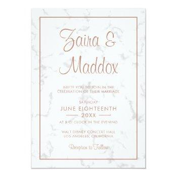 modern gray marble with rose gold script wedding invitation