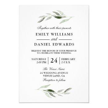 modern green leaf elegant wedding invite