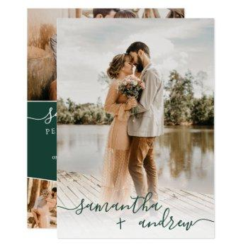 modern green minimalist script photos wedding invitation