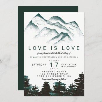 modern green watercolor forest lesbian wedding invitation