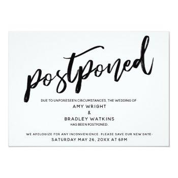 modern handwriting wedding has been postponed card