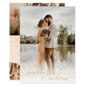 modern ivory gold minimalist script photos wedding invitation