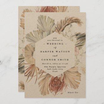 modern kraft pampas grass floral tropical jungle invitation