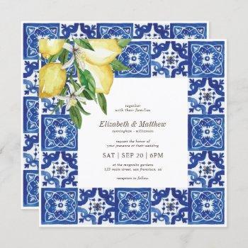modern lemon foliage blue mediterranean wedding invitation