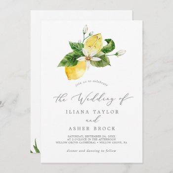modern lemon garden all in one wedding invitation