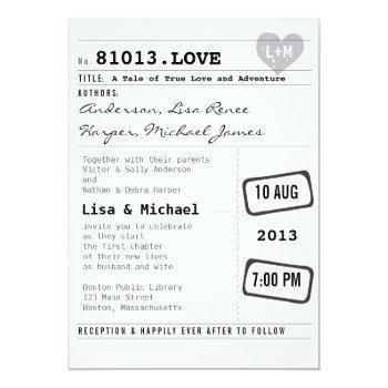 modern library card wedding invitation