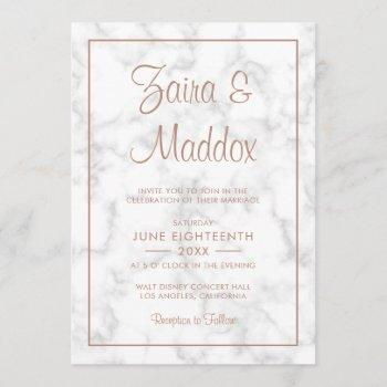 modern marble rose gold script wedding invitation