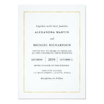 modern minimal | faux gold border wedding invitation