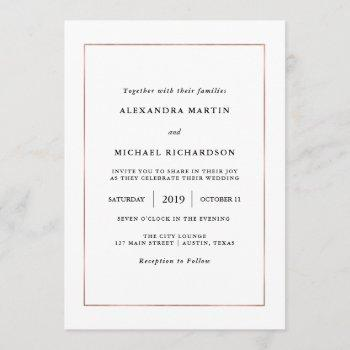 modern minimal | faux rose gold border wedding invitation