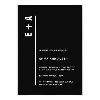 modern minimalist black bold initials wedding invitation
