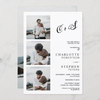 modern minimalist casual initials photo wedding invitation