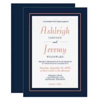 modern minimalist navy blue and coral wedding invitation