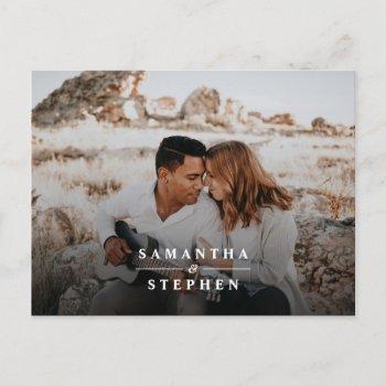 modern minimalist photo wedding invitation postcard