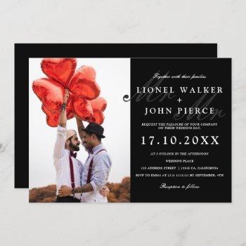 modern mr and mr black white photo gay wedding invitation