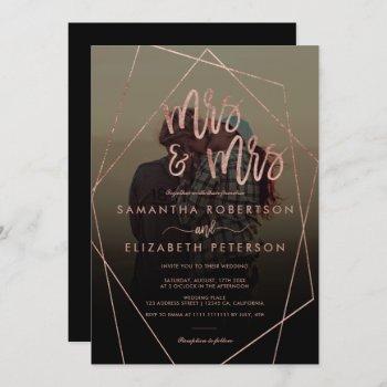 modern mrs script terrarium photo lesbian wedding invitation