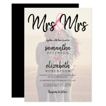 modern mrs typography photo lesbian wedding invitation