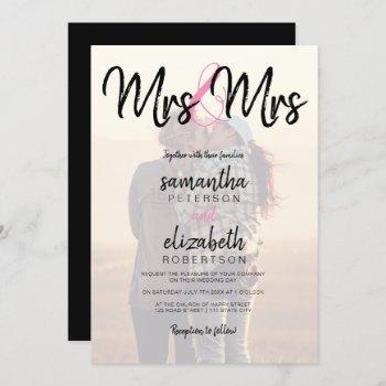 modern mrs typography photo lesbian wedding invitation