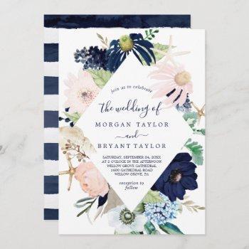 modern nautical | floral diamond geometric wedding invitation