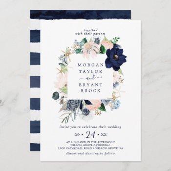 modern nautical | floral square frame wedding invitation