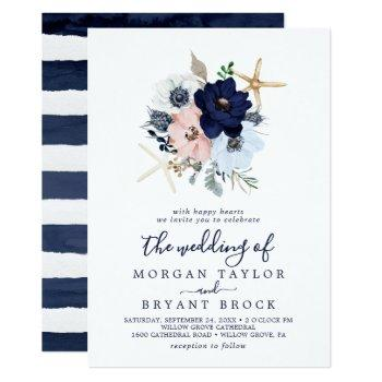 modern nautical | floral the wedding of invitation