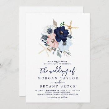 modern nautical   floral the wedding of invitation
