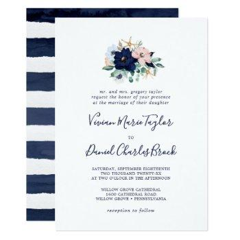 modern nautical | floral traditional wedding invitation