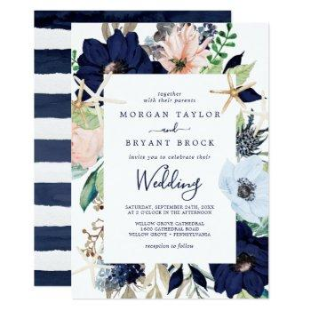 modern nautical | floral wedding invitation