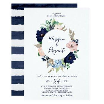 modern nautical | floral wreath wedding invitation