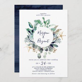 modern nautical | greenery all in one wedding invitation