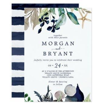 modern nautical   greenery casual wedding invitation