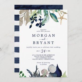 modern nautical | greenery casual wedding invitation