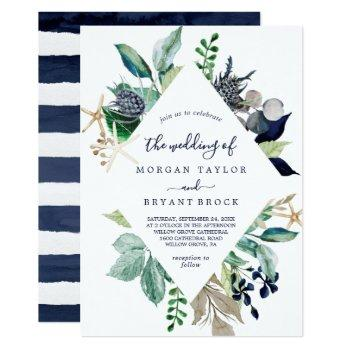 modern nautical greenery diamond geometric wedding invitation