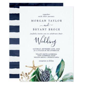 modern nautical | greenery wedding invitation