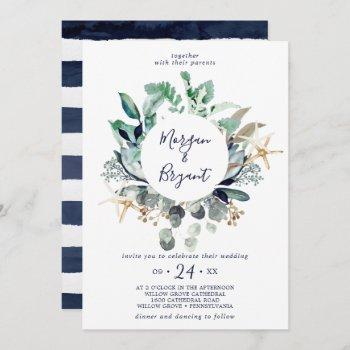 modern nautical | greenery wreath wedding invitation