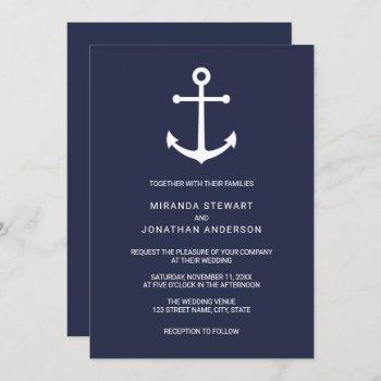 modern nautical navy blue anchor wedding invitation