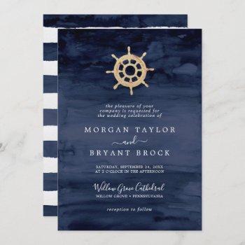 modern nautical | ship helm formal wedding invitation